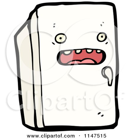Traditional household refrigerator appliance clipart illustration by