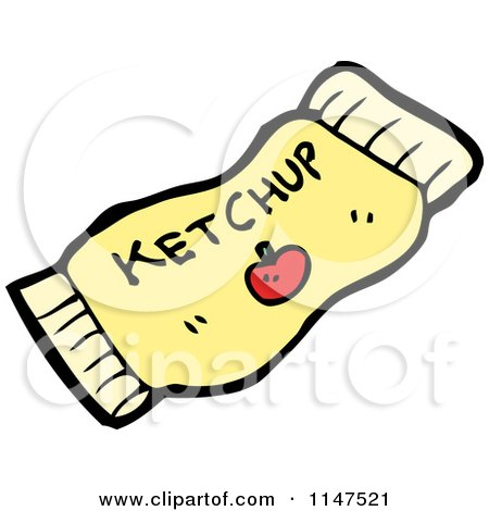 Cartoon of a Ketchup Packet - Royalty Free Vector Clipart by lineartestpilot
