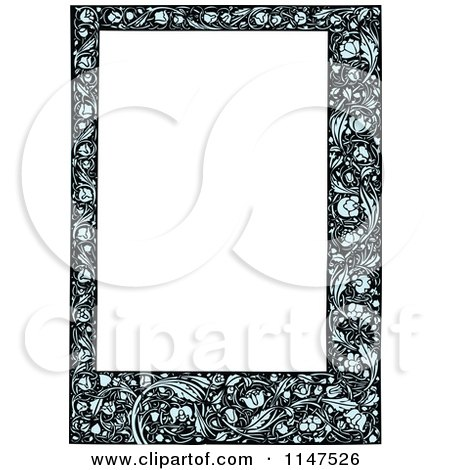 Clipart of a Blue Floral Frame Around Copyspace - Royalty Free Vector Illustration by BestVector