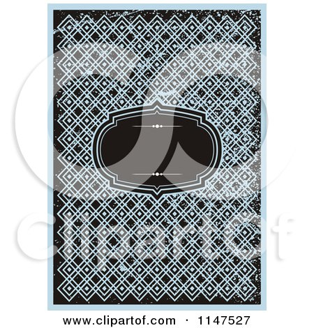 Clipart of a Black Frame over Blue Designs with Grunge - Royalty Free Vector Illustration by BestVector