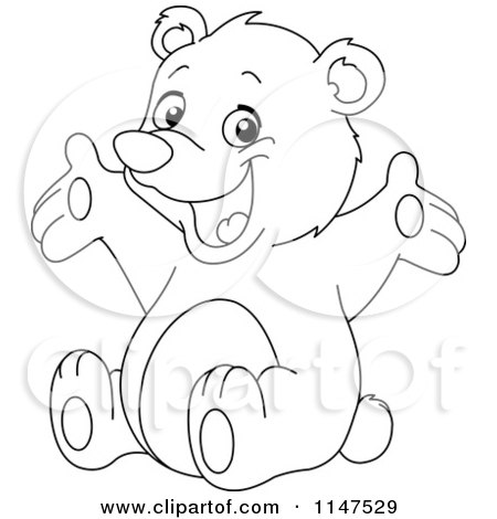 Cartoon of a Happy Outlined Teddy Bear - Royalty Free Vector Clipart by yayayoyo
