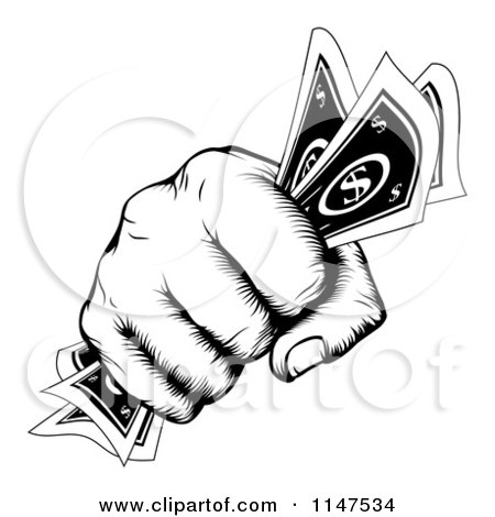 Clipart of a Retro Black and White Woodcut Fist Holding Cash Money - Royalty Free Vector Illustration by AtStockIllustration