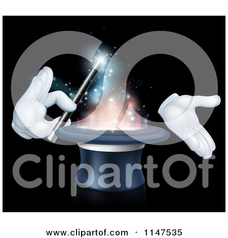 Clipart of Gloved Hands Performing a Magic Trick in a Hat - Royalty Free Vector Illustration by AtStockIllustration