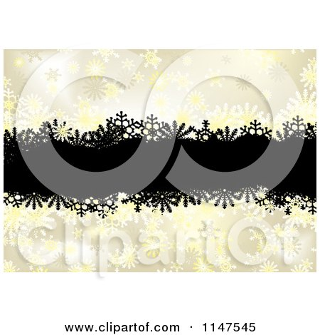 Clipart of a Background of Black Grunge over Golden Snowflakes - Royalty Free Vector Illustration by michaeltravers