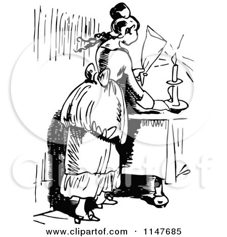Clipart of a Retro Vintage Black and White Woman Snuffing out a Candle - Royalty Free Vector Illustration by Prawny Vintage