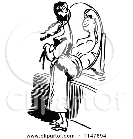 Clipart Retro Black And White Woman Reading Under A Hair