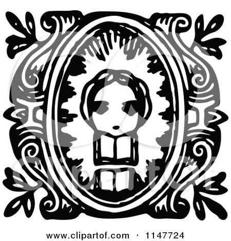 Clipart of a Retro Vintage Black and White Girl and Book Design - Royalty Free Vector Illustration by Prawny Vintage