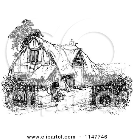Clipart Of A Retro Vintage Black And White Woman Thatched Cottage