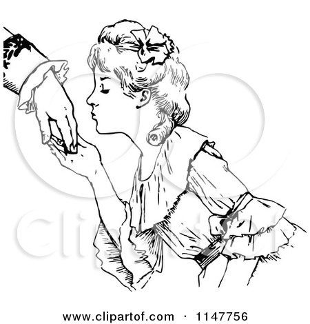 Retro Vintage Black And White Woman Kissing A Hand 1147756