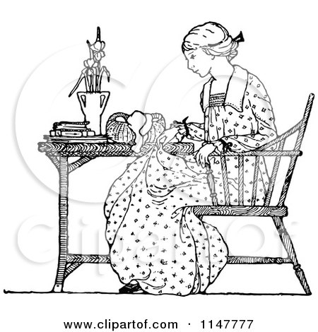 Clipart Of A Retro Vintage Black And White Woman Seated At