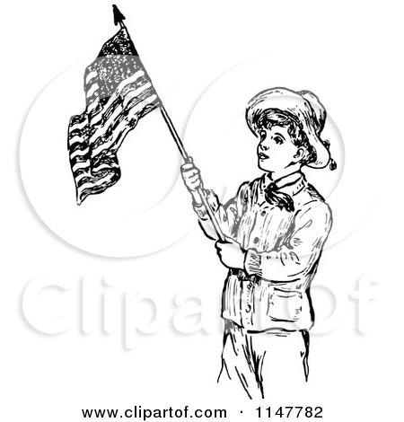 Clipart of a Retro Vintage Black and White Scout Boy with an American Flag - Royalty Free Vector Illustration by Prawny Vintage