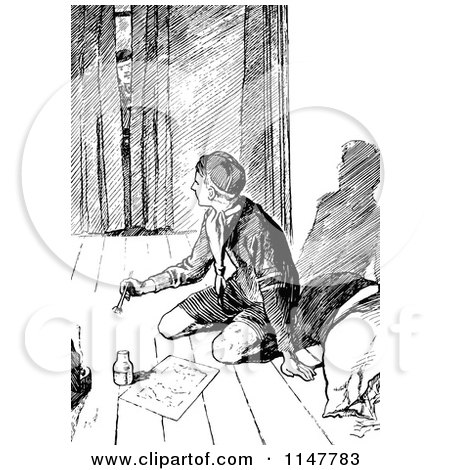 Clipart of a Retro Vintage Black and White Man Peeking in at a Boy Scout Writing - Royalty Free Vector Illustration by Prawny Vintage