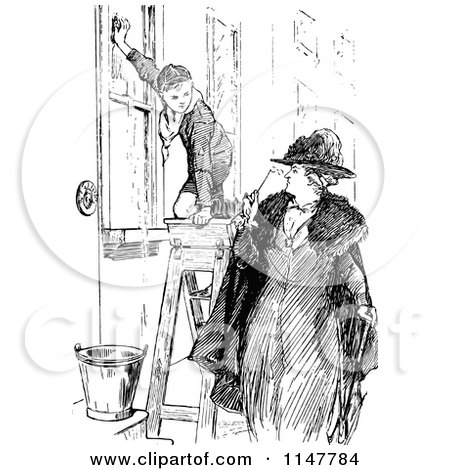 Clipart of a Retro Vintage Black and White Woman Looking at a Boy Scout Washing Windows - Royalty Free Vector Illustration by Prawny Vintage