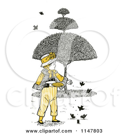 Clipart of a Retro Vintage Boy Feeding Birds with Yellow Tones - Royalty Free Vector Illustration by Prawny Vintage