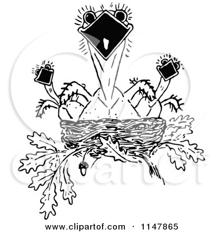 Clipart of a Retro Vintage Black and White Nest of Hungry Birds - Royalty Free Vector Illustration by Prawny Vintage