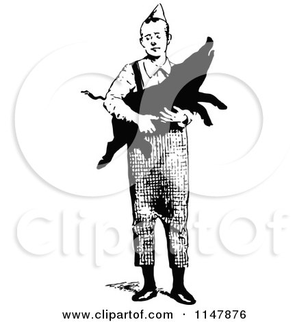 Clipart of a Retro Vintage Black and White Man Carrying a Pig - Royalty Free Vector Illustration by Prawny Vintage