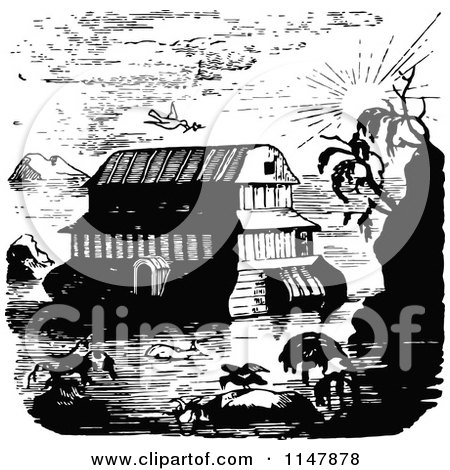Clipart of a Retro Vintage Black and White Scene of Noahs Ark - Royalty Free Vector Illustration by Prawny Vintage