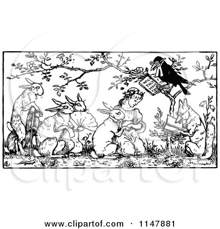 Clipart of a Retro Vintage Black and White Crow Marrying a Girl and Rabbit - Royalty Free Vector Illustration by Prawny Vintage