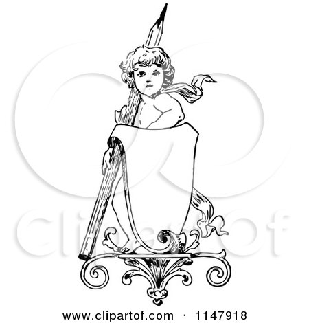 Clipart of a Retro Vintage Black and White Cherub with a Pencil and Sign - Royalty Free Vector Illustration by Prawny Vintage