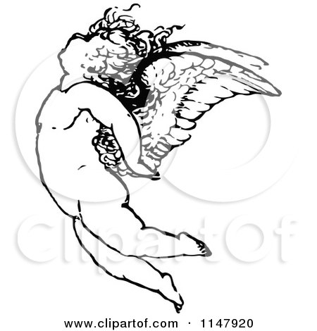 Clipart of a Retro Vintage Black and White Cherub Flying - Royalty Free Vector Illustration by Prawny Vintage
