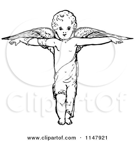 Clipart of a Retro Vintage Black and White Cherub with Arms out and Wings - Royalty Free Vector Illustration by Prawny Vintage