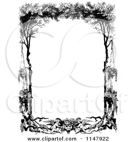 Clipart of a Retro Vintage Black and White Frame of Cherubs Hanging Flowers and Trees - Royalty Free Vector Illustration by Prawny Vintage