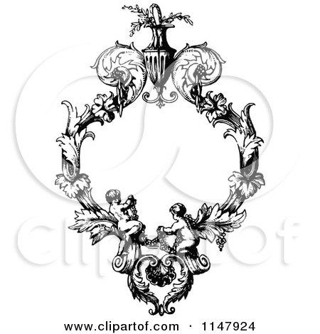Clipart of a Retro Vintage Black and White Ornate Floral Cherub Frame - Royalty Free Vector Illustration by Prawny Vintage