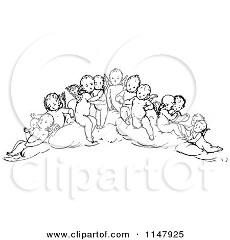 Clipart of a Retro Vintage Black and White Group of Cherubs - Royalty Free Vector Illustration by Prawny Vintage