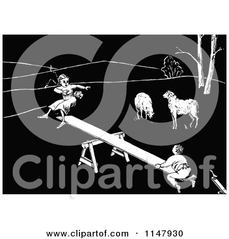 Clipart of a Retro Vintage Black and White Boy and Girl on a See Saw by Sheep - Royalty Free Vector Illustration by Prawny Vintage