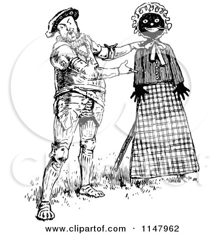 Clipart of Retro Vintage Black and White Henry VIII Presenting a Doll - Royalty Free Vector Illustration by Prawny Vintage