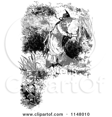 Clipart of a Retro Vintage Black and White Border of Girl Picking Flowers - Royalty Free Vector Illustration by Prawny Vintage