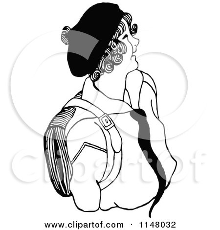 Clipart of a Retro Vintage Black and White Happy School Girl - Royalty Free Vector Illustration by Prawny Vintage