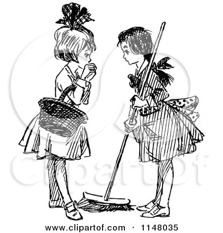 Clipart Of A Retro Vintage Black And White Woman Sweeping