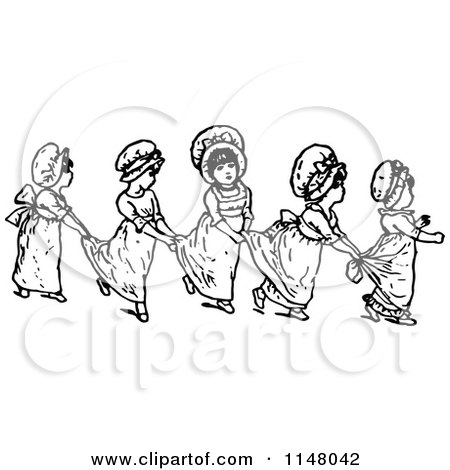 Clipart of Retro Vintage Black and White Girls in a Line Holding onto Their Dresses - Royalty Free Vector Illustration by Prawny Vintage