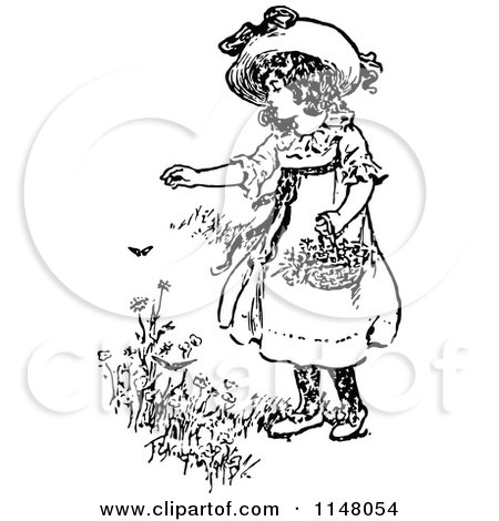 Clipart of a Retro Vintage Black and White Girl Picking Flowers - Royalty Free Vector Illustration by Prawny Vintage
