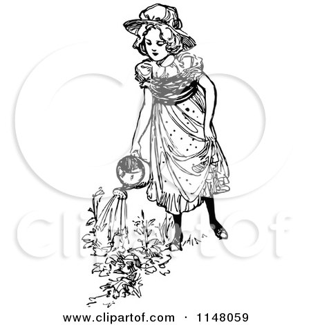 Clipart Vintage Black And White Garden Notes Text And Tools ...