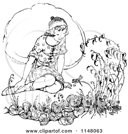 Clipart of a Retro Vintage Black and White Girl Sitting in a Garden - Royalty Free Vector Illustration by Prawny Vintage