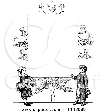 Black And White Christmas Clipart.Clipart Of A Retro Vintage Black And White Christmas Tree