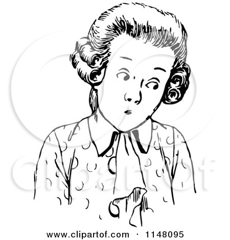 Clipart of a Vintage Black and White Price over Wig ...