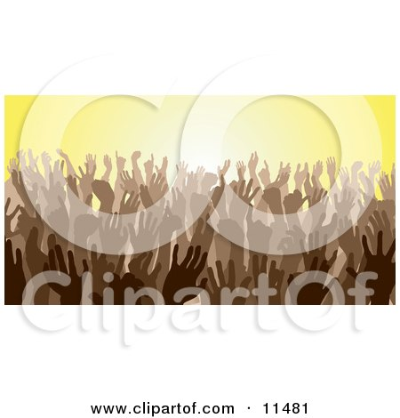 Brown Group of Silhouetted Hands in a Crowd Posters, Art Prints