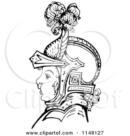 Clipart of a Retro Vintage Black and White Boy in Knights Armour - Royalty Free Vector Illustration by Prawny Vintage