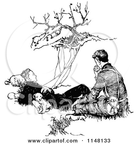 Clipart of a Retro Vintage Black and White Pupy and Two Men Resting by a Cliff - Royalty Free Vector Illustration by Prawny Vintage
