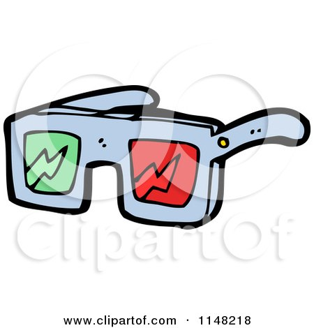 Cartoon of a Pair of 3d Movie Glasses - Royalty Free Vector Clipart by lineartestpilot