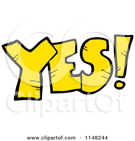 Cartoon of the Word Yes - Royalty Free Vector Clipart by lineartestpilot