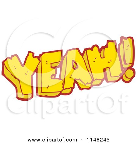 Cartoon of the Word Yeah - Royalty Free Vector Clipart by lineartestpilot
