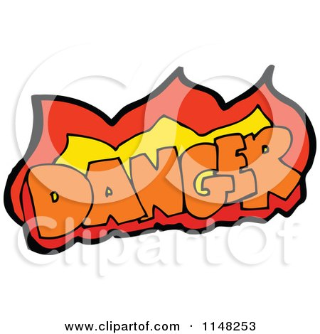 Cartoon of the Word Danger with Flames - Royalty Free Vector Clipart by lineartestpilot