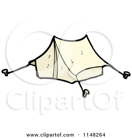 Cartoon of a Pitched Tent - Royalty Free Vector Clipart by lineartestpilot