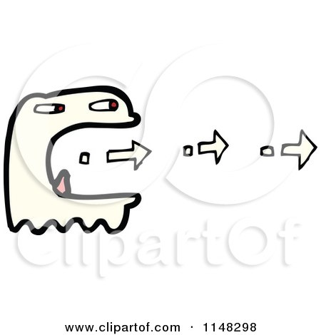 Cartoon of a Ghost Eating Arrows - Royalty Free Vector Clipart by lineartestpilot