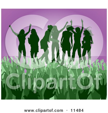 Green Group of Silhouetted Women Raising Their Arms and Celebrating on Stage at a Concert Posters, Art Prints