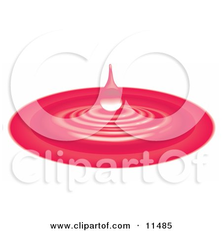 Red Waterdrop and Ripples Clipart Illustration by AtStockIllustration